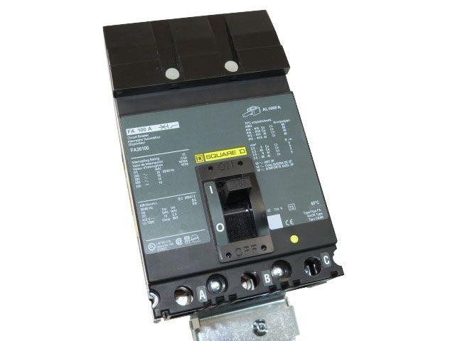 Square D Fa36100 3 Pole 100 Amp Molded Case Circuit Breaker Bay Power